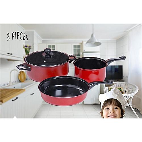 3pcs Cookware Pot Set Cooking Utensils Flat Bottom Pan With Transparent Cover