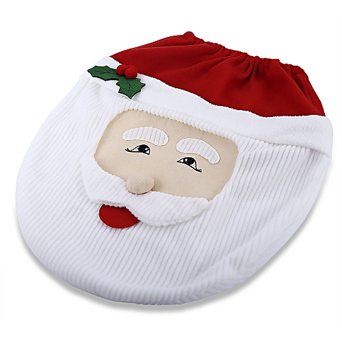 Santa Claus Toilet Seat Cover Bathroom Accessory - Red With White
