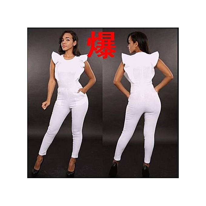 f3fb831dee4 Womens Jumpsuit Plus Size Cut Pants Rayon New Fashion Black White Milk Silk  Ladies Wide Leg