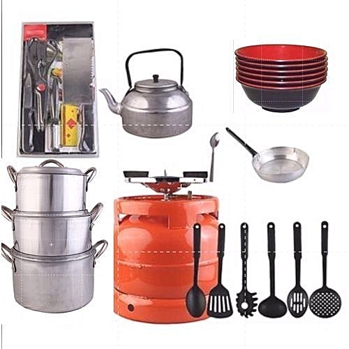 Economy Kitchen Bundle- 4 Set Pots, 1 Kettle, 1 Frying Pan, 1 Set Non-stick Frying Spoon, 1 Small Knife Set, 1 Set Of Table Spoon And 6kg Gas Cylinder + 1 Pack Of Unbreakable Eating Plate