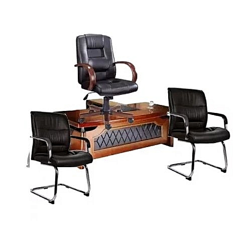Directors Office Table Wit Extension + Chair & 2 Visitor's Chairs (Delivery Within Lagos)