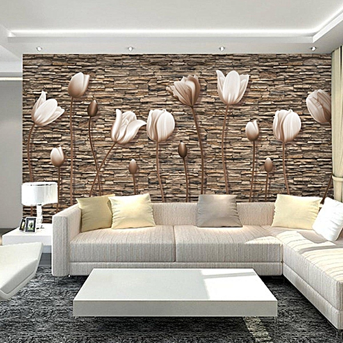 55x30Inch 3D Tulips Romantic Wall Paper Sticker Roll TV Background Living Room