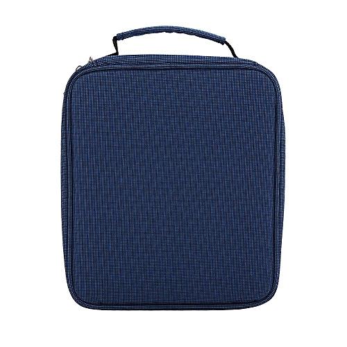 160 Slots Oxford Fabric Foldable Zipper Pencil Case Bag Blue