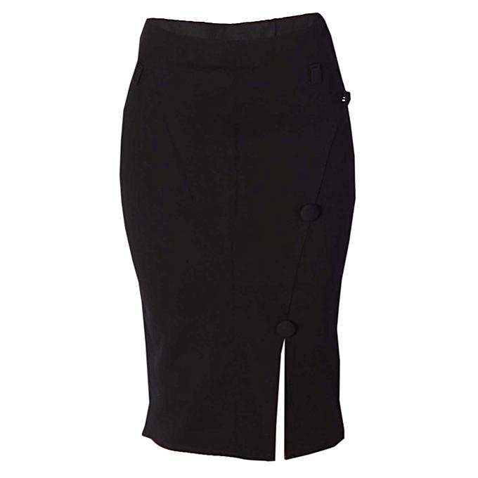 29c33e0e2cd7 Fashion Button Detail Midi Skirt- Black | Jumia NG
