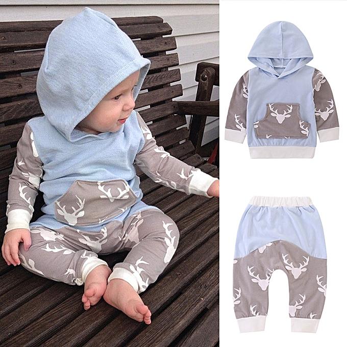 a39ce305e Fashion Adorabl 2PCS Newborn Infant Baby Boy Girl Deer Hooded Tops+ ...