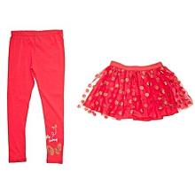 b39d09211 Girls Polka Dot Skeggings - Leggings With Tutu Glittering Skirt- Coral