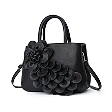 bf691291dbc Leather Handbag With Detailed Flower Design Model 2 -Black
