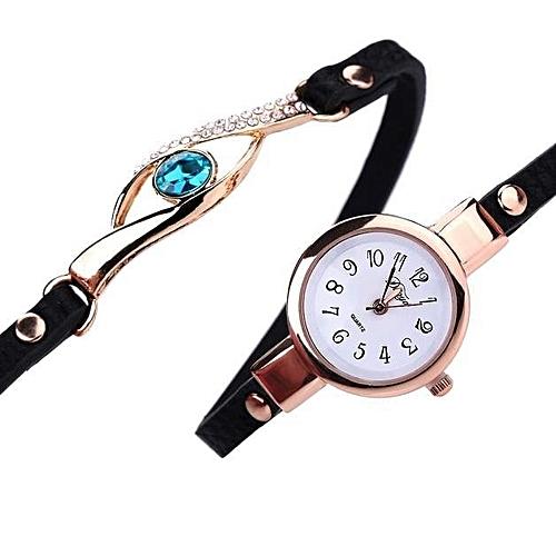 Duoya Duoya Women Fashion PU Leather Band Analog Quartz Round Wrist Watch Watches-Black