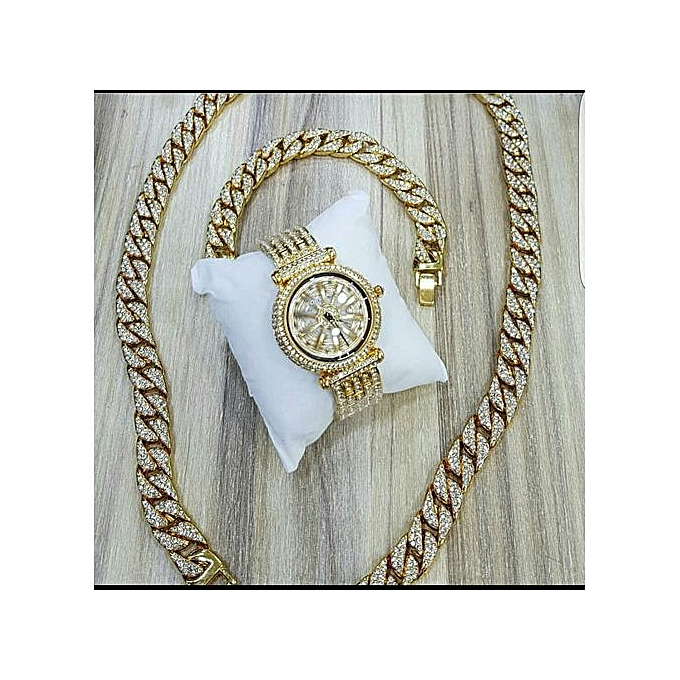 2019 Crystal Encrusted Bracelet, Cuban Neck Chain With Iced Out Spinning  Waterproof Watch-Gold