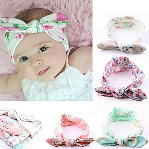 Generic 4PC Baby Infant Kids Girls Rabbit Ears Hairband Turban Bowknot  Headwrap Hairband For Baby 8a6c7c3b4811