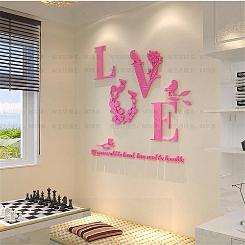 2PCS Beautiful 3D LOVE DIY Mirror Wall Decals Stickers Art Home Room Vinyl Decor AY Pink S