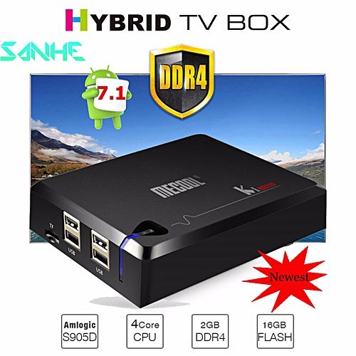 DDR4 2G/16G MECOOL KI PRO Android 7.1 Hybrid TV Box Amlogic S905D Quad Core 1000M Media Player Mini PC (Black)