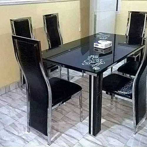 Executive Glass Dining Table Set + 6 Chairs