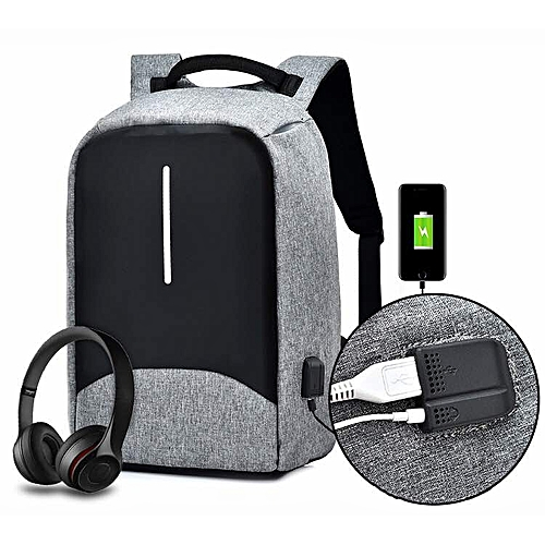 2018 Anti-Theft Backpack With Multi-Function Port - Grey
