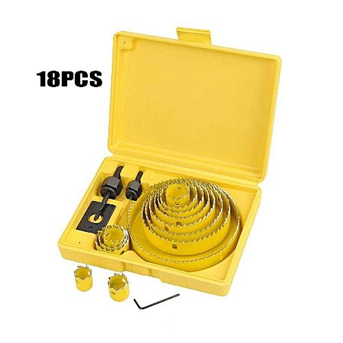 18pcs Hole Saw Cutter Set Drill Bit Holesaw Wood Kit Carbon Metal HSS 19-127mm
