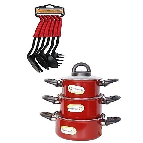3Pcs Of Red Non Stick Pot Set+ Free Set Of Spoons