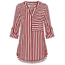b254e0c3975ea Chiffon Blouse Split V Neck Cuffed Sleeve Striped Blouses