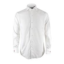 3688bce8 Cutaway Collar Herringbone Long Sleeve Shirt - White