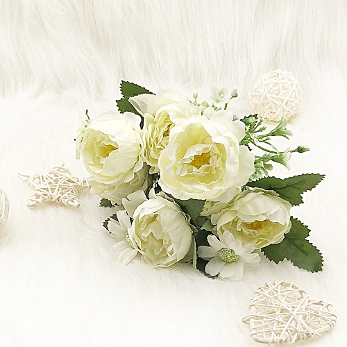 Silk Spring White Peony Home Decoration Artificial Flower