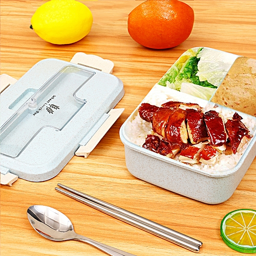 Lunch Box Portable Wheat Straw Picnic Microwave Bento Food Storage Container Hot