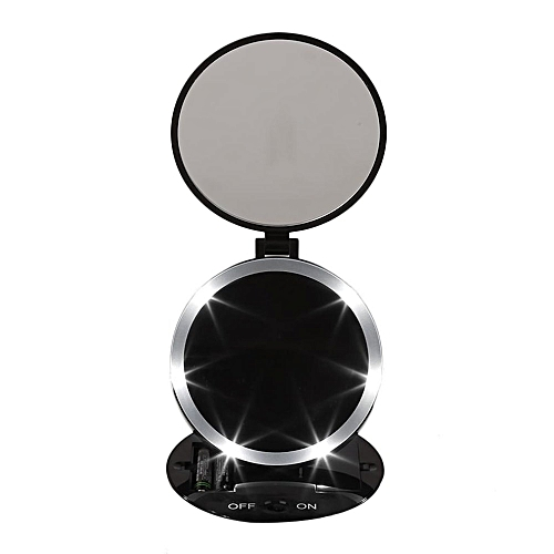 Portable Size Round Shape Double Sided Desktop LED Makeup Mirror With Light