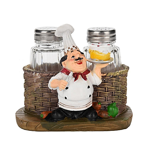 Cute Chef Statue Salt & Pepper Bottle Holder Ornaments Home Decor Kitchen Resin Crafts