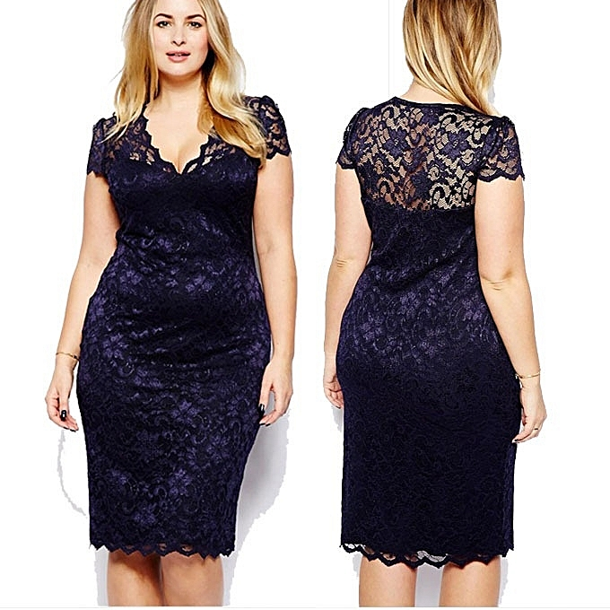 b7b2b94dd61 Women Sexy Hollow Out V Neck Lace Dress Slim Fit Plus Size Midi Dresses -  Azul