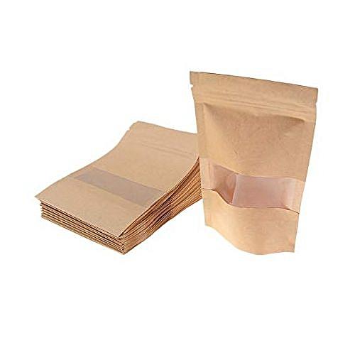 50pcs 14x22 Brown Kraft-Paper Ziplock StandUp Resealable Food Pouch
