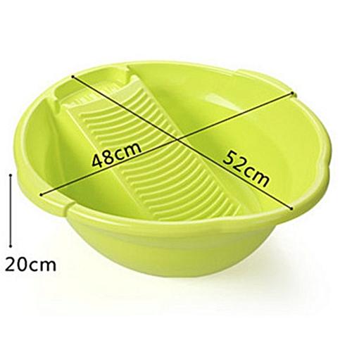 Plastic Washtub With Rubbing Plate - Green Laundry Tub