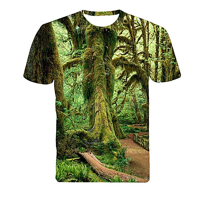 Men Summer 3D T-shirt Green Forest Old Tree Leaf Print Short Sleeve Tee Top f4968c6bb4