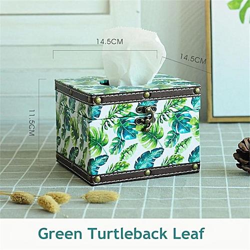 Leather Tissue Box Antique Paper Napkin Storage Box Organizer Office Car Tissue Holder Home Decor Cubic Case Cover Nordic Style#Green Turtleback
