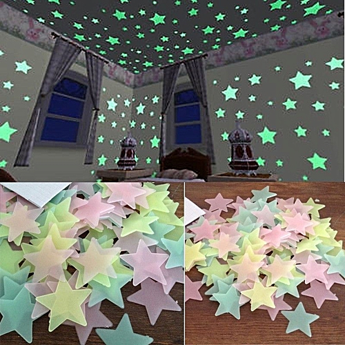 100PC Kids Bedroom Fluorescent Glow In The Dark Stars Wall Stickers