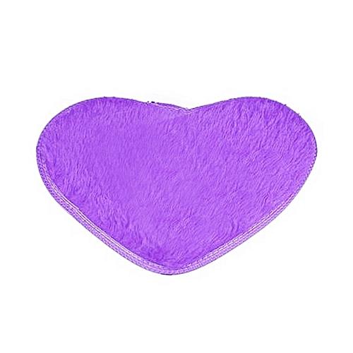Velvet Fabric Heart Shape Floor Mat Anti-slip Bath Mat For Bathroom Bedroom Purple