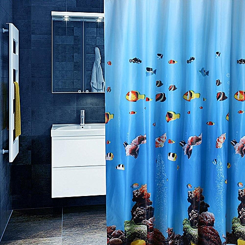 180*200cm PEVA Bathroom Washroom Underwater World Fish Shower Curtain 12 Hooks