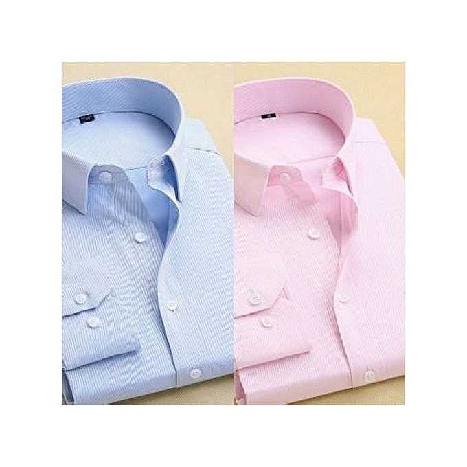 193254fb Fashion Unique Quality Men's Plain Long Sleeve Shirt-sky Blue / Pink ...