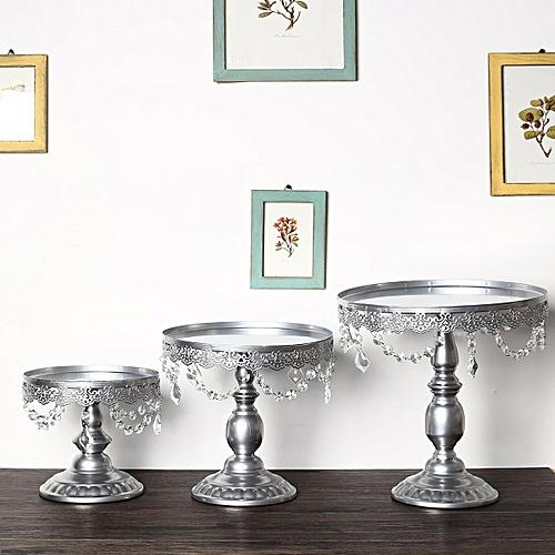 Set Of 3 Silver Iron Crystal Pendants Cupcake Cake Stand Wedding