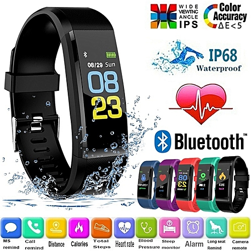 Fitness Tracker Smart Wristband Bluetooth Waterproof With Blood Pressure Heart RateSleep Pedometer