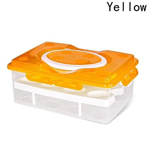 Eleganya Portable Fresh Tools Double-layered 24 Cavity Refrigerator Storage Crisper Fresh Egg Box
