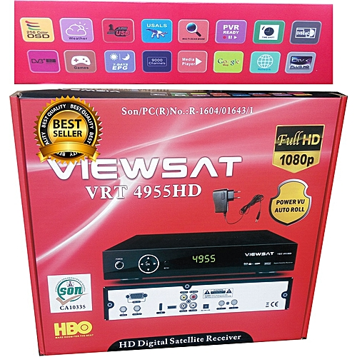 Multifunction Viewsat Ultra HD Free To Air Satellite TV Channels Receiver  Decoder With HDMI, VGA, AV In, RF IN, RF OUT, 2 USB Ports, HDMI Cable, 2
