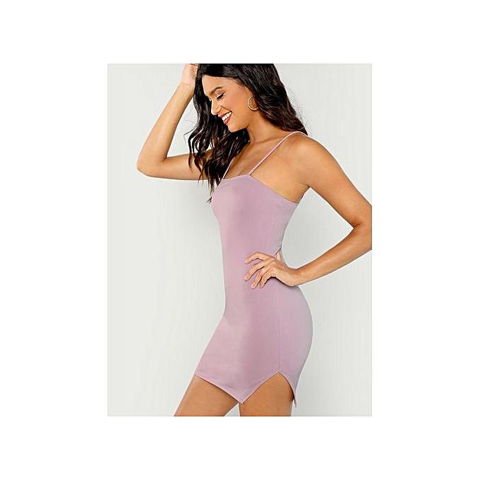 47e0d0d61f64 SHEIN Form Fitting Slit Hem Cami Dress - Purple | Jumia.com.ng