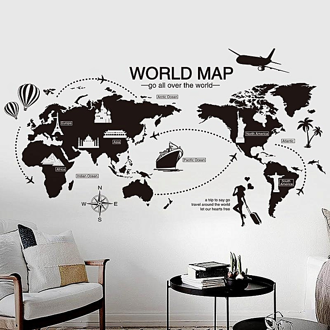 ef76b99070 ... World Map Wall Sticker Office Living Room Decorations Vinyl Wall  Stickers Home Decor Removable PVC Art ...