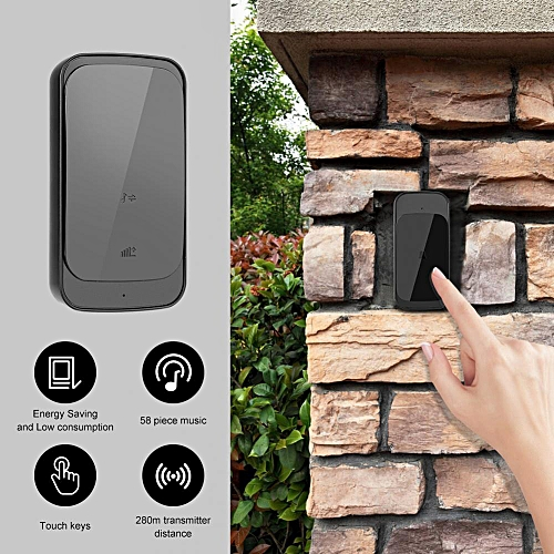 110-240V 280M Wireless Doorbell Slim Remote Control Intelligent Door Bell Ring