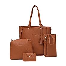 dcdca959c1a Four Set Handbag Shoulder Bags Four Pieces Tote Bag Crossbody Wallet Bags -Brown