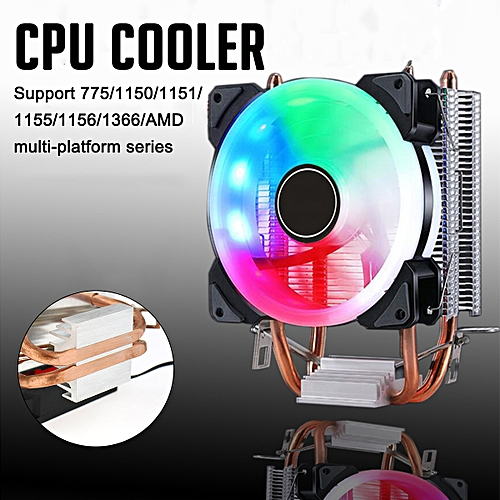 CPU Cooler Fan Colorful LED Heat Sink For Intel 775/1150/1151/1155/1156/1366 AMD