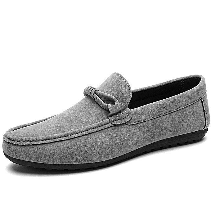 59e8b7aa229 Mens Soft Loafer Flats Comfy Driving Shoes -Grey