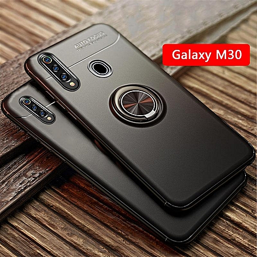 new arrival c6ce6 8ddb9 Magnetic Finger Ring Holder Phone Case For Samsung Galaxy M30 Cases 360  Degree Rotation Car Holder For Samsung Galaxy M30 Cover (Red)