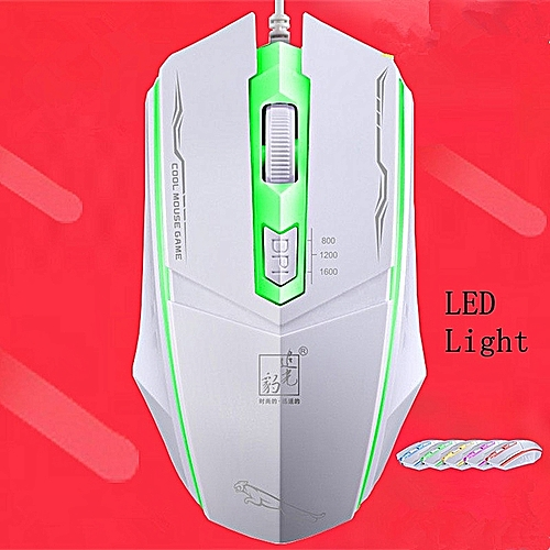 Stylish USB Optoluminescence Game Mouse Computer Peripheral-White