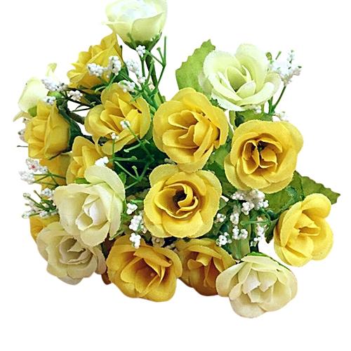 Dtrestocy 21 Heads Artificial Rose Silk Fake Flower Leaf Home Decor Bridal Bouquet Orange