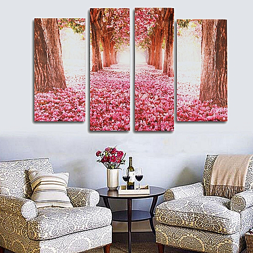 Cherry Blossom Abstract Canvas Art Oil Painting Home Wall Decor Set Unframed