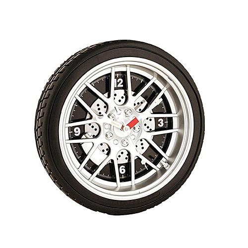 Tyre Wheel Model Wall Clock - Black